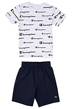 Champion Little Boys 2-7 Short Sets Mesh and French Terry Shorts  6 White/Navy-French Terry Shorts