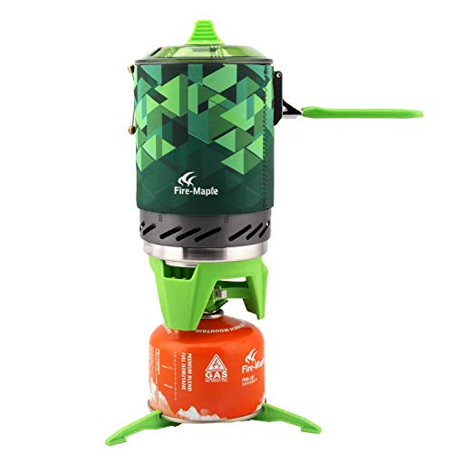 Fire Maple FMS-X2 X3 compact One-Piece Camping Stove Heat Exchanger Pot camping equipment set Flash Personal Cooking System (Star-2,Green)