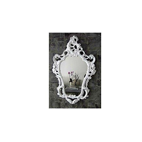 Specchio da parete esclusivo, stile barocco, stile retrò, 50 x 76 cm, bianco