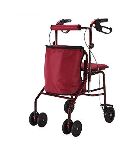 GJX Andadores Ancianos Plegable Andador Asientos Carros De La Compra Carro De Cuatro Carritos Plegables Scooter De Rueda +