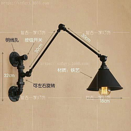 Mkj Moderne stijl, wandlamp, nachtkastlampje, aluminium, ijzer, wandlamp, woonkamer, eenvoudige kop, dubbele lampen, smeedijzer, lange arm, wandlamp, Bg046L-260 compleet zwart, 40 + 40 cm, met lampen 6594