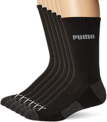 Puma Men's 6 Pack Crew Socks, black/Gray, 10-13 from Puma