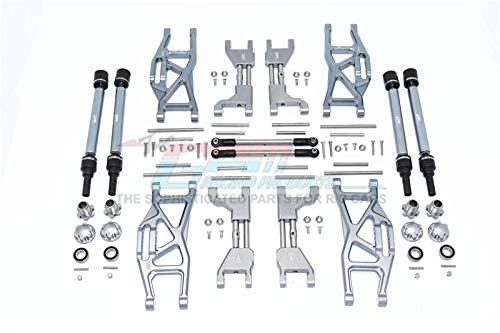 Traxxas 1/10 MAXX (89076-4) Upgrade Parts Aluminium F&R Upper+Lower Arms + F&R Adjustable CVD Drive Shaft + Hex Adapter + Wheel Lock + Adjustable Front Steering Tie Rod - 84Pc Set Grey Silver