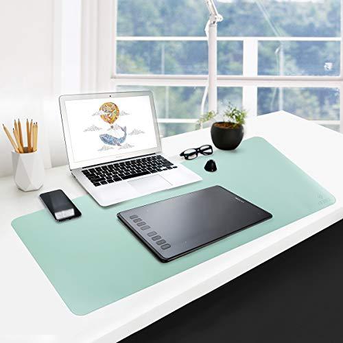 GUBEE PU Cuero Almohadilla de Escritorio de Oficina Multifuncional,Impermeable Antideslizante Anti-Sucio Alfombrilla de ratón para Oficina, hogar y Viajes-Size 800x400x2mm (Azul Cielo + Verde)