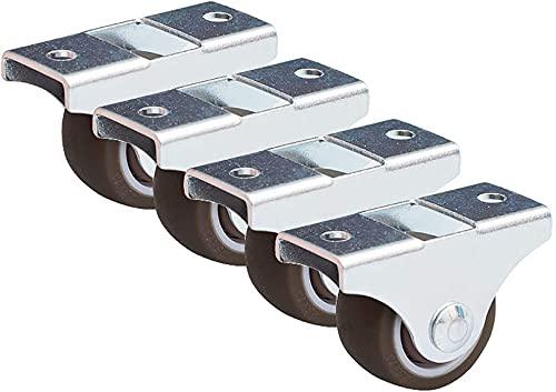 CAETNY 4 ruedas móviles de la rueda de los muebles en miniatura de la placa fija 25m m mini ruedas para la cama mesa cajón banco de trabajo