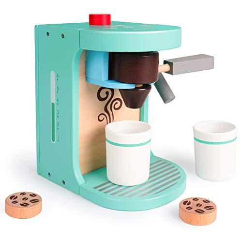 Rolimate Küchenspielzeug Kaffeemaschine Spielzeug aus Holz, Kinder Rollenspiele Holzspielzeug, Lernspielzeug Montessori Spielzeug Geburtstagsgeschenk ab 3 4 5 Jahren, 2 Tassen 3 Kaffeepad 1 Siebträger