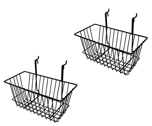 Only Hangers Small Wire Storage Baskets for Gridwall, Slatwall and Pegboard - Black Finish - Dimensions: 12' x 6' x 6' Deep - Economically Sold in a Set of 2 Baskets