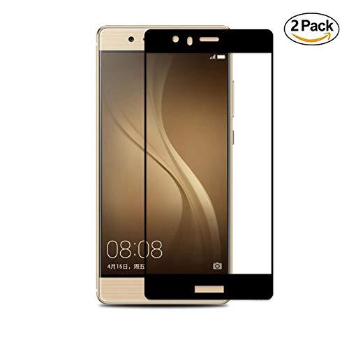 Copmob Huawei P9 Lite Vetro Temperato, [2-Pack] Durezza 9H, Ultra Resistente, Anti Scratch Tocco Morbido e Alta Qualità,Copertura a schermo intero, Pellicola Vetro Huawei P9 Lite-nero