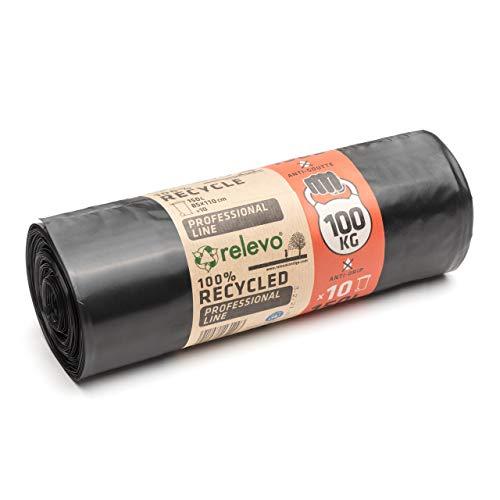 Sacs Poubelles Résistants Relevo, Sacs Poubelles Durables avec Résistance jusqu'à 100 kg, Sacs en Plastique 100% Recyclés, Écologiques et Anti-Fuites, Grande Capacité 150 L