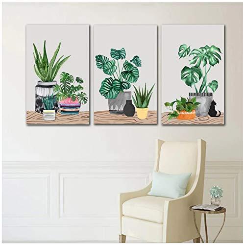 Nórdico verde planta en maceta Cactus lienzo pintura impresión para sala de estar decoración del hogar arte de pared Impresión de póster imagen 60x80cm (24x32in) × 3