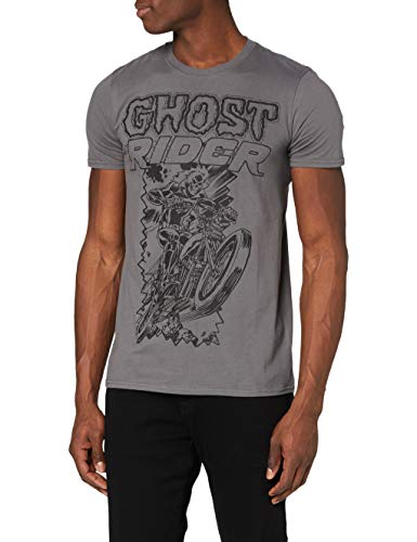Marvel Comics Ghost Rider Camiseta, Gris, S para Hombre