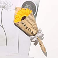 Soap Flowers Bouquet Artificial Eternal Sunflower Newspaper Wrapped for Home Living Room Decoration