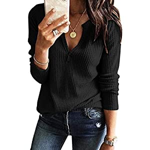 Fashion Shopping Womens V Neck Shirts Long Sleeve Waffle Knit Loose Fitting Warm Tee Tops Pullover