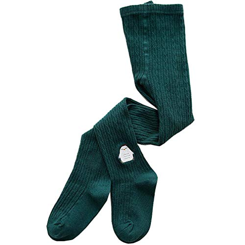 Panty's baby meisjes thermische panty kinderen gebreide panty winterleggings katoen patroon broek met sokken routes met rok XL/9-12Y donkergroen