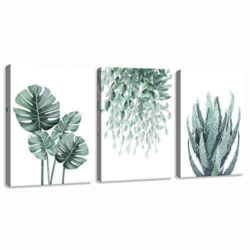 Green Canvas Wall Art for Living Room Bedroom, Monstera Shallow Green Leaf Tropical Succulent Plant Picture Canvas Prints,Modern Framed Minimalist Water Color Set of 3 Piece 12' X 16'