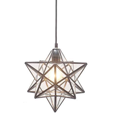 Lustre En Verre Pentagram Stereo Star Drop Pendentif Lumière Cristal Transparent Plafond Lampe Moderne, Lampe Orientale E27 Et 40 W