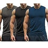 COOFANDY Pack de 3 camisetas de tirantes para hombre, camiseta interior atlética, camiseta clásica de cuello redondo, Negro/Gris Oscuro/Azul, L