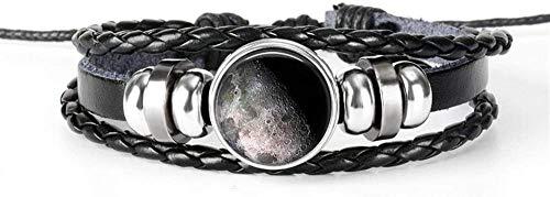 Pulsera Exquisito Sistema Solar Pulsera De La Tierra Nebulosa Galaxia Planeta Cristal Cabochon Pulsera De Cuero Negro De Múltiples Capas Hombres Mujeres Joyería De Moda (Color: Veintitrés) 9