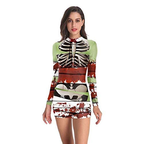 Bluelucon dames Halloween skelet jurk bodycon kostuum noviteit party jurk bedrukte lange mouwen knielang slim fit partyjurk carnaval minijurk