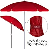 Kingsleeve - Parasol inclinable - Parasol de Plage - Rouge - Réglable - Hydrofuge -...