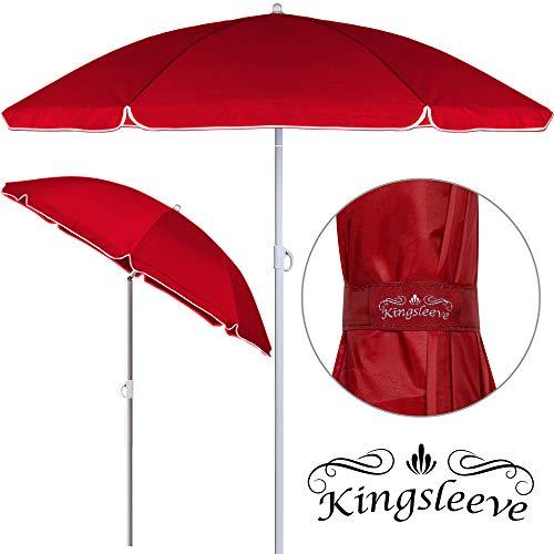 Kingsleeve Parasol inclinable - Parasol de Plage 180 cm Rouge Réglable Hydrofuge 180 cm Plage Pique-Nique Jardin Terrasse Pare-Soleil