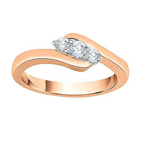 KATARINA Anillo de compromiso con 3 diamantes en oro de 14 quilates (1/4 cttw, J-K, SI2-I1)