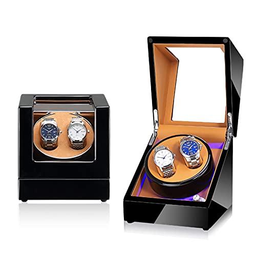ZCL Reloj automático Caja de Winder para 2 Relojes LED Iluminación Máquina de bobinado Motor silencioso Fit Dama y Hombre Relojes de Almacenamiento de Lujo, E