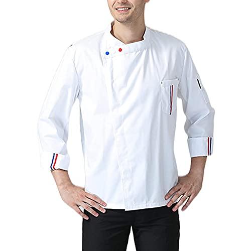GAOSHENGWUJINGD Chef Coat Men Women Men's Long Sheeve Chef Coats, Cooker Work Restaurant Uniforms Catering Jackets for Food Staff Lightweight Utility Cook Shirt (Color : White, Size : E(3XL))