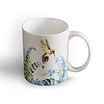 Maison d  Hermine Tropiques Fine Bone China Coffee Mug with Handles for Hot Beverages - Coffee | Cappuccino | Latte| Cocoa | Tea Perfect for Home | Gifts  Humming Bird 12 Ounce