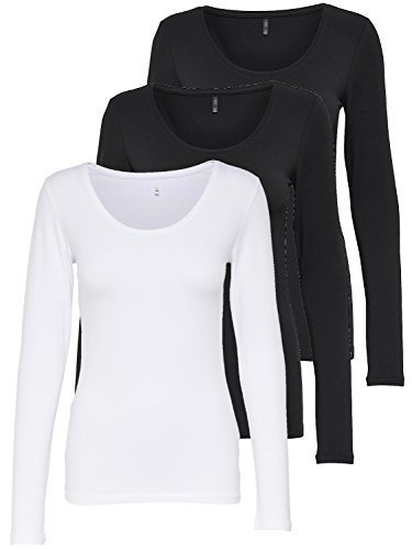 ONLY 3er Pack Damen Langarmshirt schwarz und weiß Langarm Basic Longsleeve Sommer aus 95% Baumwolle XS S M L XL (3er Pack Farb Mix 1, M)