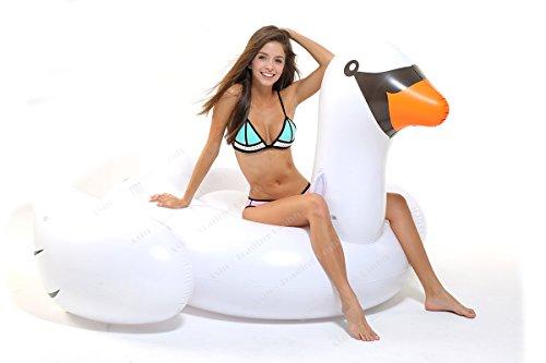Tante Tina Schwan Luftmatratze - Riesen Schwimmtier - Schwimmring groß - Pool Schwimm Matratze - Aufblasbarer Schwimmreifen - Badeinsel in Weiß