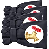 """GonLei 4PACK 5.5"""" W x 7.4"""" H Winter Faucet Insulation Cover, Hose Cover Socks, Outdoor Faucet Antifreeze Insulated Long Water Faucet Cover Socks Winter Antifreeze Protection Hose Bib (Black)"""