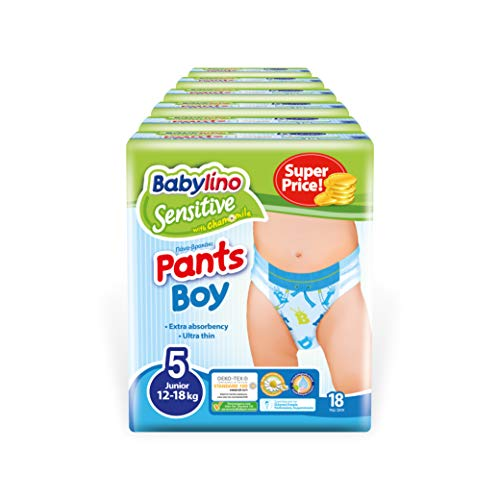 Babylino Sensitive Pants Boy Junior, 108 Pannolini Mutandina Taglia 5 (12-18Kg)