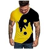LANSKIRT Camiseta de Manga Corta con Estampado de Cabeza de Lobo Doble para Hombre 2020 Moda, Camisas Casual, Camiseta España Hombre Verano Talla Grande S-XXXL
