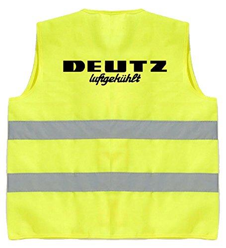 Schlüter Oldtimer Warnweste | Deutz | Gelb | Brust- und Rückendruck | Größe L/XL