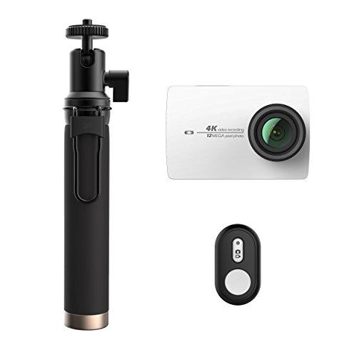 YI 4K Action Kamera Set mit Selfie Stick & Bluetooth Fernbedienung-Weiß