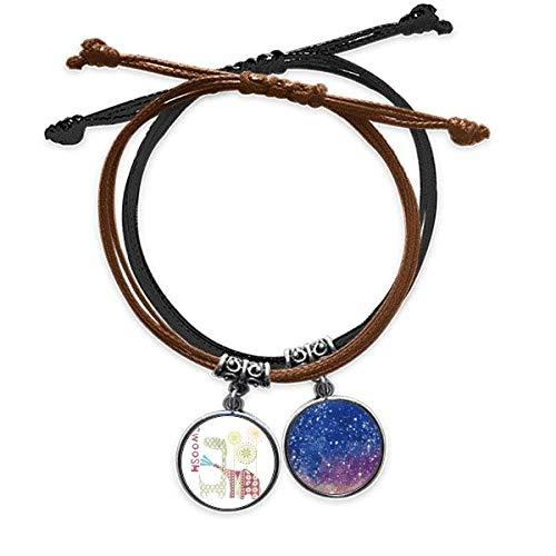 Bestchong Giraffe Elephant Windmill Green Bracelet Rope Hand Chain Leather Starry Sky Wristband