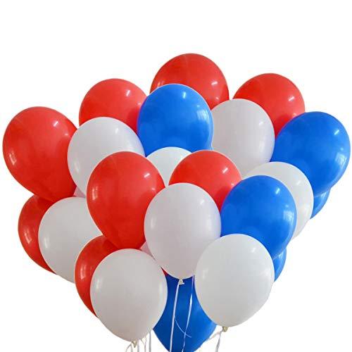 NUOLUX Ballons à Latex 12 Pouces Rouge Blanc Ballons Bleus pour fête, 100pcs