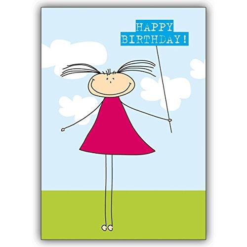 Wenskaarten met korting voor hoeveelheden: leuke verjaardagskaart met klein meisjes: Happy Birthday • mooie wenskaart voor het verjaardagskind met envelop zakelijk & privé 10 Grußkarten