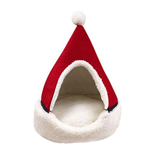 Yowablo Haustierhöhle Haustier Haus Hundehütte Katzenhöhle Halb geschlossener Weihnachtswarmer weicher Winter-Haustier-Katzenstreu (43 * 43 * 50cm,4- Rot)