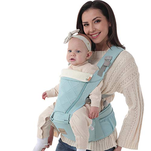 RUIBZTZ Portabebés De 3-36 Meses, Ergonomic Kids Sling Backpack Pouch Wrap Bolsa Frontal para Bebés Multifuncional, Cuatro Estaciones Universales,Azul