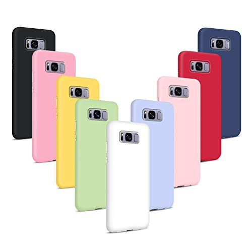 9X Fundas Samsung Galaxy S8, Carcasas Flexible Suave TPU Silicona Ultra Delgado Protección Caso(Rojo + Rosa Claro + Púrpura + Amarillo + Rosa Oscuro + Verde + Negro + Azul Oscuro)