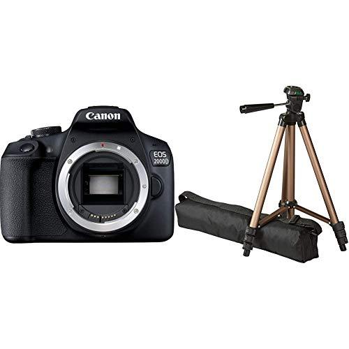 Canon EOS 2000D Spiegelreflexkamera Gehäuse (24,1 MP, DIGIC 4+, 7,5 cm (3,0 Zoll) LCD, Full-HD, APS-C CMOS-Sensor), schwarz & Amazon Basics– Leichtes Kamera-Dreibeinstativ mit Tasche, 41,91–127cm