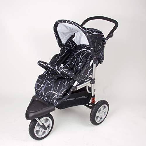 3 Wheeler pram Jogger GALOPP Black - Baby Stroller PRAM Buggy Pushchair