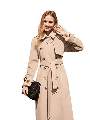 JameStyle26 Damen Wollmantel Wintermantel mit 80% Wolle Casual-Look Trenchcoat Lang Parka (L, Beige)