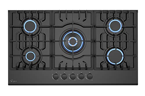 Empava 30 Inch Gas Cooktop LPG/NG Convertible with 5 Italy SABAF Burners Tempered Glass in Black