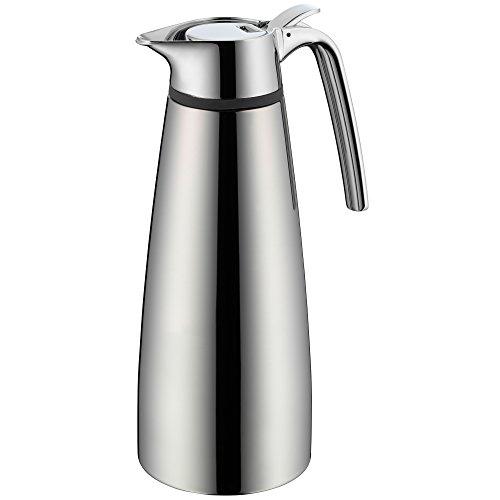 WMF Concept Isolierkanne Edelstahl 1,0l, Thermokanne mit Klappverschluss für Tee oder Kaffee, Cromargan Edelstahl poliert, hält 12h warm, 24h kalt