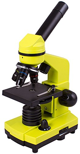 Levenhuk Rainbow 2L Lime Portable Microscope for Children with Experiment Kit, Upper and Lower LED Light for Observing All Kinds of Samples
