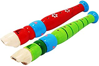 2 pcs Small Wooden Recorders for Toddlers, Colorful Piccolo Flute for Kids,Learning Rhythm Musical Instrument,Sealive Baby Early Education Music Sound Toys for Autism or Preschool Child (Random Color)