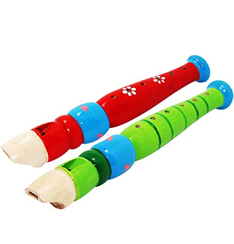 2 pcs Small Wooden Complete Free low-pricing Shipping Recorders Toddlers for Piccolo Flut Colorful
